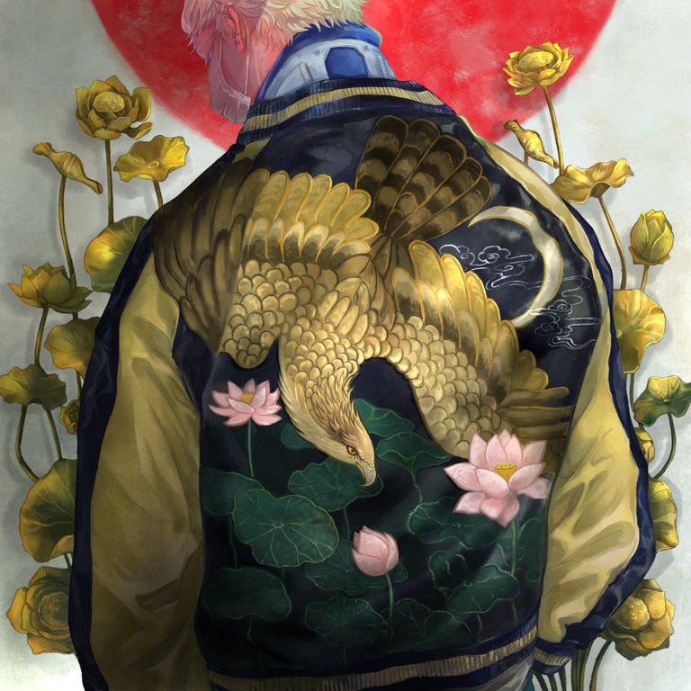 Drawings of Embroidered Satin Jackets - A Stern Back.