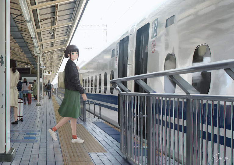 A collection of Train Platform Drawings - Your Favorite Meeting Spot