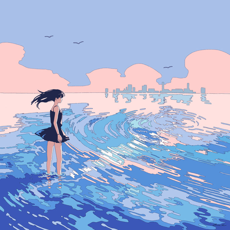 Drawings of People Dipping Their Feet in Water  - Feel the Coolness.